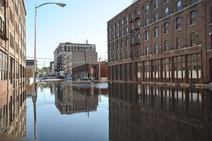 flooded commercial buildings