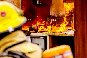 kitchen fire stove on fire